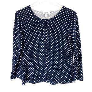 NWT LOFT Navy & White Polka Dot Cardigan Sweater